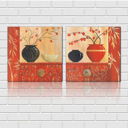 Printed Ceramics NZ - Free shipping unframed 2 Pieces picture Canvas Prints Abstract oil painting flowers ceramics bowl leaf Sunflower