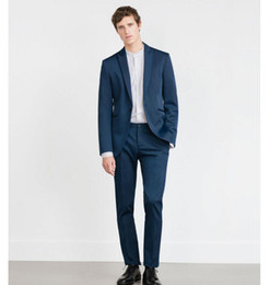Green Men S Fitted Suit Canada - New Custom Made Fashion Navy Blue Men Slim Fits Suits Tuxedo Wedding Suits Groom Formal Party Suits (jacket+pants)