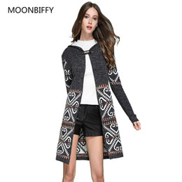 Maternity Sweater Coats UK - New Fashion Autumn Winter Ethnic Vintage Knitted Sweater Coat Maternity Long Hooded Cardigan Feminino Outwear Bretudo Feminina