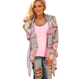 China Wholesale- Lady Knitted Cardigan Winter Stylish Collarless Long Sleeve Tribal Print Asymmetrical Womens Warm Sweaters for Women cheap knitted neck warmers for women suppliers