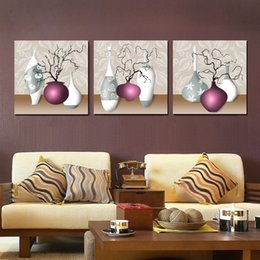 $enCountryForm.capitalKeyWord NZ - Wall decoration Unframed 3 Pieces picture free shipping Canvas Prints Abstract pot potted flower tulips Dandelion waterfall mountain Lotus