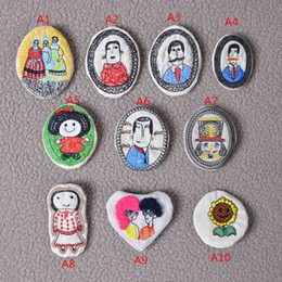china cheap clothes wholesalers Canada - embroidery cartoon badge brooch pins handmade Fabric Boutonniere clip on Clothes & Bag, Kids, Boys, Girls, Men Accessories Price Cheap