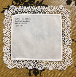 """White Cotton Napkins Canada - Free Shipping Home &Garden 36 PCS lot New Venice lace Trim Style White Coton Cocktail Napkins 6""""X6""""Party Supplies makes guests feel welcome"""