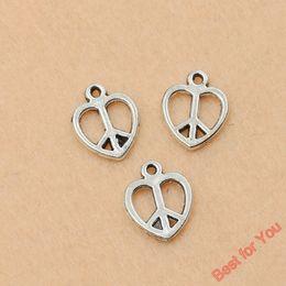 $enCountryForm.capitalKeyWord NZ - 100pcs Vintage Peace Sign Heart Charms Pendants For Jewelry Making Tibetan Silver Plated Diy Handmade 14x12mm jewelry making