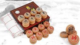 educational board games 2019 - 3.5CM Chessman +PU Checkerboard Wood Chinese Chess Set Board Games Educational Toys discount educational board games