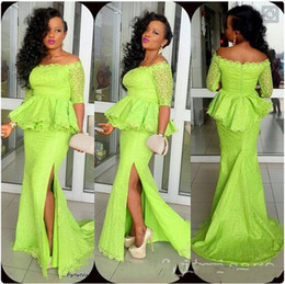 Jacket Gown Aso Ebi Canada - Plus Size Lace Prom Dresses Aso Ebi Bright Green Mermaid Peplum Side Split Sexy Evening Gowns Formal Women Party Dresses With Sleeves