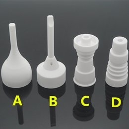Ceramic Dab Nails Canada - Wholesale Domeless Ceramic Nails 14mm 18mm with Male Female Joint for Glass Bongs Water Pipes Ceramic Carb Caps Wax Dry Herb Dab Ti-Nails