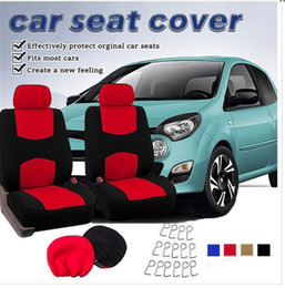 Blue Gray Car NZ - 4pca set Classic Cloth Car Seat Covers Classic Universal Full Set Blue   Black Color High Back Bucket - Fit Most Car, Truck, Suv, or