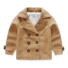 Barato Meninos Do Terno Dobro Breasted-Atacado-Boys de lã casaco Casual Suit Collar KidsThicken Cotton Jacket Khaki Cor trespassado Casacos