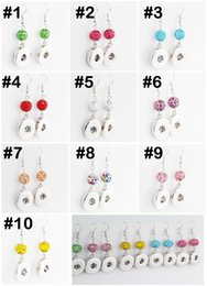 wholesale interchangeable earrings 2019 - Mix 10 Styles Crystal Noosa Snap Earrings Round Chunk Button Interchangeable Diy For 12mm Snap Buttons Jewelry E621L che