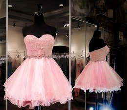 Barato Mini-saia Cor-de-rosa Barata-Novo Pink Short Homecoming Dreses 2016 Sweetheart Lace Top Backless Tutu saia Mini Tulle Sexy Prom Party Cocktail Gowns Cheap Custom