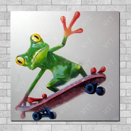 $enCountryForm.capitalKeyWord Canada - Modern Oil Painting On Canvas Skating Frog Wall Pictures Abstract Modern Canvas Art Living Room Wall Decor Hand painted Pictures