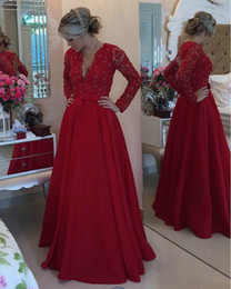 Robe De Soirée À Manches Longues Pas Cher-Vintage Red Long Sleeve Prom Robes de soirée 2016 gala jurken Applique Arabe Design A Line Women Night Party Gown