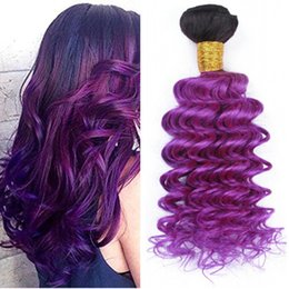 Purple hair extension remy australia new featured purple hair ombre purple two tone peruvian human hair extensions 3pcs deep wave dark root 1b purple ombre virgin remy human hair weave bundles pmusecretfo Images