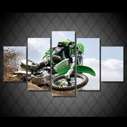 $enCountryForm.capitalKeyWord NZ - 5 Pcs Set Framed Printed Motocross Painting Canvas Print room decor print poster picture canvas Free shipping ny-4999