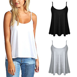 Chaleco Sin Mangas De Swing Baratos-Womens Ladies Plain Sleeveless Swing Chaleco Correa Cami Camisole Flared Tank Top