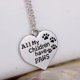 Letter D Pendant Australia - Love Pendant Heart Letter Necklace All My Children Have Paws LM-N231