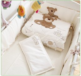 Baby Pillow Bedding Sets Canada - Promotion! 7PCS Embroidery cot baby Bedding set crib bed linen baby bed sheet ,(bumpers+duvet+sheet+pillow)