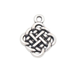 Chinese Knots Wholesale Canada - Hot Antique Silver Color Alloy Chinese knot Charms 50pcs AAC023