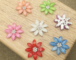 button hair accessories Canada - 50pcs Rhinestone Crystal Daisy Flower Beads Button Flatback For Scrapbooking Craft DIY Hair Clip Accessories