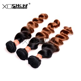 2tone Hair Canada - Ombre Hair Extensions Hair Products Brazilian Loose Wave 2Tone #1B 30 Remy Human Hair Weave 3pcs Lot Brazillian Wavy Hair 7A Hair Weave