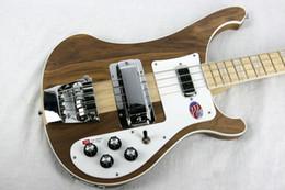 Ingrosso Spedizione gratuita 4001 Rare Traslucido Noce Vintage 4000 4003 4 String Bass Electric Guitar Neck Thru Body One PC Collo Corpo
