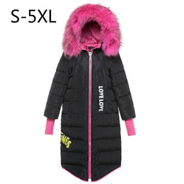 Barato Mulheres Do Revestimento Do Rosa Quente Para Baixo-Mulheres Down Jacket Hot Pink Fur Winter Coat White Duck Down Parkas Hood Thicking Warm Outwear Tops Real Raccoon Fur Plus Size 5xl 6xl