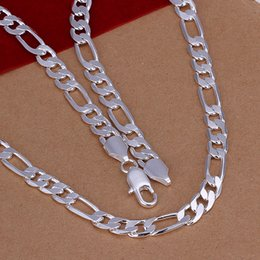 Chunky sterling silver Chains online shopping - Trendy Chunky Necklace Mens MM Sterling Silver Chain Flat Lariat Necklaces Fashion Designer Jewelry Fathers Day Gifts