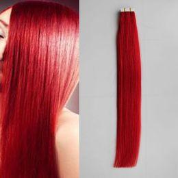 dark red human hair extensions 2019 - RED human hair Tape Human Hair Extension Straight Brazilian Skin Weft Hair 20 pcs 30g 40g 50g 60g 70g cheap dark red hum