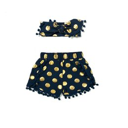 gold dots baby UK - Navy & Gold Polka Dot Baby Girl 1st Birthday shorts outfit ,Metallic Pom Baby Girls Clothes ,Infant Girls short headband set
