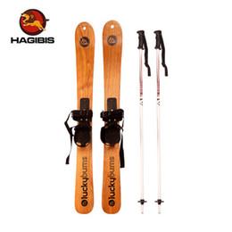 Großhandel Hölzerne Ski ashtree der hohen Qualität, die zwei Brettkinderschnee-Bretter einschließlich Skistock im Freiensport alle freies Verschiffen Ski fahren