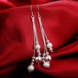 Nouvelle boucle d'oreille plaqué argent 925 long lustre perlé boucles d'oreilles