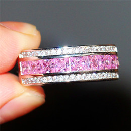 fashion 10kt white gold ring pink sapphire gem cz side stone band elvis aloha concert ring for women cocktail discount pink sapphire wedding bands
