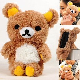 Cute Brown Bear Canada - Super Cute Winter Warm Lovely 3D Teddy Bear Doll Toy Plush Soft phone Cover For iphone 7 7 plus White Brown coverring Case for kid's