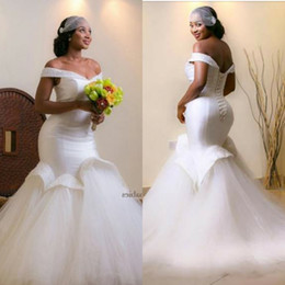 Discount pleated trumpet wedding gowns taffeta - 2016 Mermaid White Wedding Dresses With Beaded Flouncing Ruffles Beaded Crystals Stunning Wedding Gowns Sexy Bodycon Ara