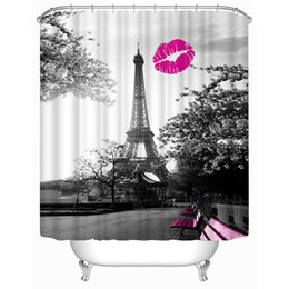 $enCountryForm.capitalKeyWord Canada - Customs 36 48 60 66 72 80 (W) x 72 (H) Inch Shower Curtain Red Lip Eiffel Tower Waterproof Polyester Fabric Shower Curtain