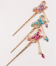 Luxury Golden Hollow Butterfly Hairpin Women Bride Wedding Hair Stick Crystal Hair Pins Full Rhinestone Hair stick on Sale