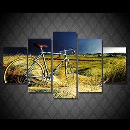 $enCountryForm.capitalKeyWord NZ - 5 Pcs Set Framed Printed vintage bicycle in the storm Painting Canvas Print room decor print poster picture canvas Free shipping ny-5016