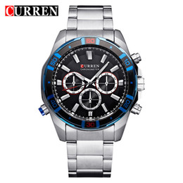 wristwatch curren Australia - CURREN 8184 False three eyes motion leisure Men's Quartz watch Full Steel Dial Wristwatches fallow concise style Watches Wholesale Free Ship