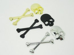 Skull Car Stickers Canada - 10pcs lot 3M 3d Car Accessories Logo Skull Metal Skeleton Crossbones funny Car Stickers Label Emblems car styling Free Shipping