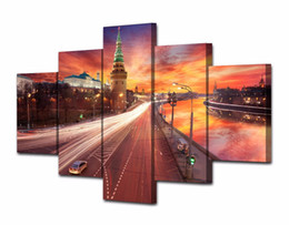 Discount paint over canvas print - 5Pcs Set HD Printed Red Sunset Over Moscow Kremlin Painting Canvas Print room decor print poster picture Framed canvas p