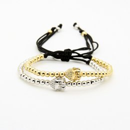 Discount womens gold charm - New Arrival 4mm High Quality Copper Beads Gold & Platinum Plated Clear Cz Buddha Macrame Bracelets Mens Womens Jewelry