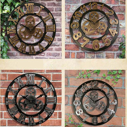 $enCountryForm.capitalKeyWord NZ - Wholesale-Handmade 3D retro rustic decorative luxury art big gear wooden vintage large wall clock on the wall for gift