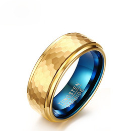 Mens Wholesale Cluster Rings NZ - 2017 New Tungsten Carbide Wedding Ring 8MM Gold & Blue Color Men Jewelry Three-Dimensional Carving Design Mens Gold Rings US Size 7-11