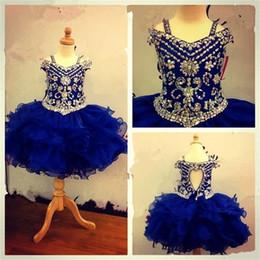 $enCountryForm.capitalKeyWord Canada - Lovely Royal Blue Crystals Girls Pageant Dresses 2016 Little Girls Ball Gowns Ruffles Organza Cheap Princess Cupcake Ritzee Dress