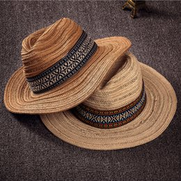 Straw Trilbies Wholesale Canada - Wholesale-summer hat women 2016 beach straw Tourism and leisure Fedora Hats,trendy unisex Fedoras trilby gangster cap jazz hats