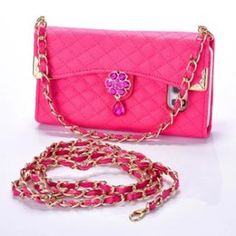 China Lanyard Diamond Sheep Wallet Leather Pouch Case For Iphone 8 I8 7 Plus I7 IPhone8 Bling Fold ID Card Photo Frame TPU Skin Cover Luxury 1pcs supplier leather lanyard luxury suppliers