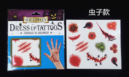 tattoo sticker halloween 2019 - Halloween Horror simulation trace fake tattoo stickers tear wound scar mischief waterproof disposable tattoo stickers ch