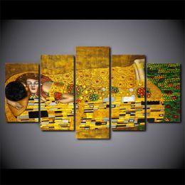 $enCountryForm.capitalKeyWord NZ - 5 Pcs Set Framed HD Printed Gustav Klimt Kiss Artwroks Canvas Print Poster Asian Modern Art Oil Paintings Pictures