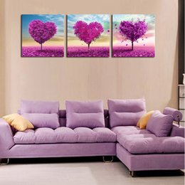 Discount popular landscape painting - 3 Pieces purple love tree abstract oil painting HD print landscape painting modern popular home decoration wall art pict